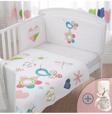 Bizzi Growin 4 Piece Cot Bed Bedding Set - Doodles