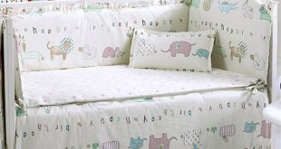 6 Pcs Craddle Crib Cot Bedding Set with Bumper, Bed Sheet and Pillow Cover