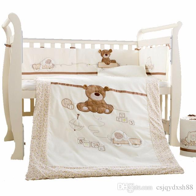 Baby Cot Bedding Set Cotton Crib Bedding Set Detachable Quilt Pillow  Bumpers Sheet Bed Linen Cot Bedding Set Kids Twin Bedding Set Kids Boys  Bedding From