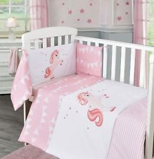 3pc Unicorn Stars Baby Pink Girl Nursery Bale Set Bedding Quilt Bumper Cot  Sheet