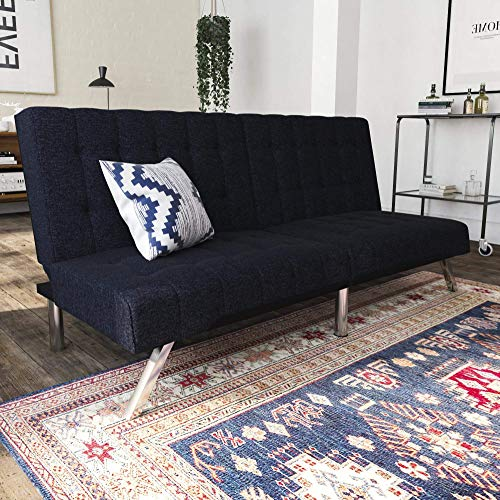DHP Emily Futon Couch Bed, Modern Sofa Design Includes Sturdy Chrome Legs  and Rich Linen