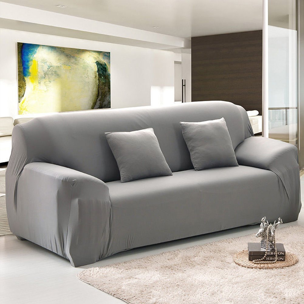 Stretch Sofa Covers,1/2/3/4 Seats Solid Color Chair Loveseat Couch Fabric  Slipcovers Protector,GRAY 4 Sest - Traveller Location