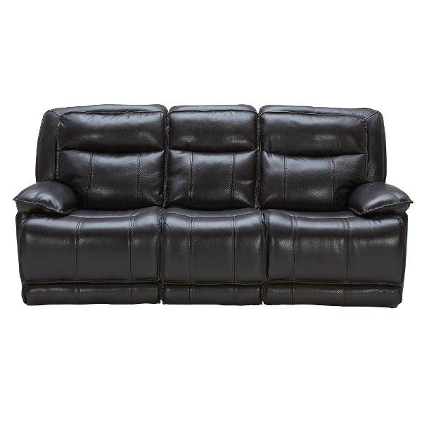 Blackberry Leather-Match Power Triple Reclining Sofa - K-Motion