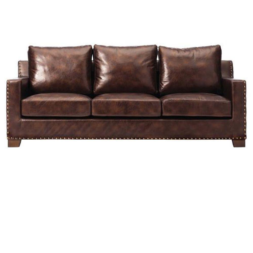 Garrison Brown Leather Sofa