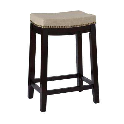 Hampton 26 in. Dark Walnut Cushioned Bar Stool. Dark Walnut