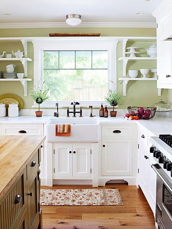 Green Country Kitchen, Country Cottage Kitchens, Country Kitchen Ideas  Farmhouse Style, Light Green