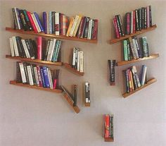 Creative Bookshelves, Bookshelf Design, Bookshelf Ideas, Leaning