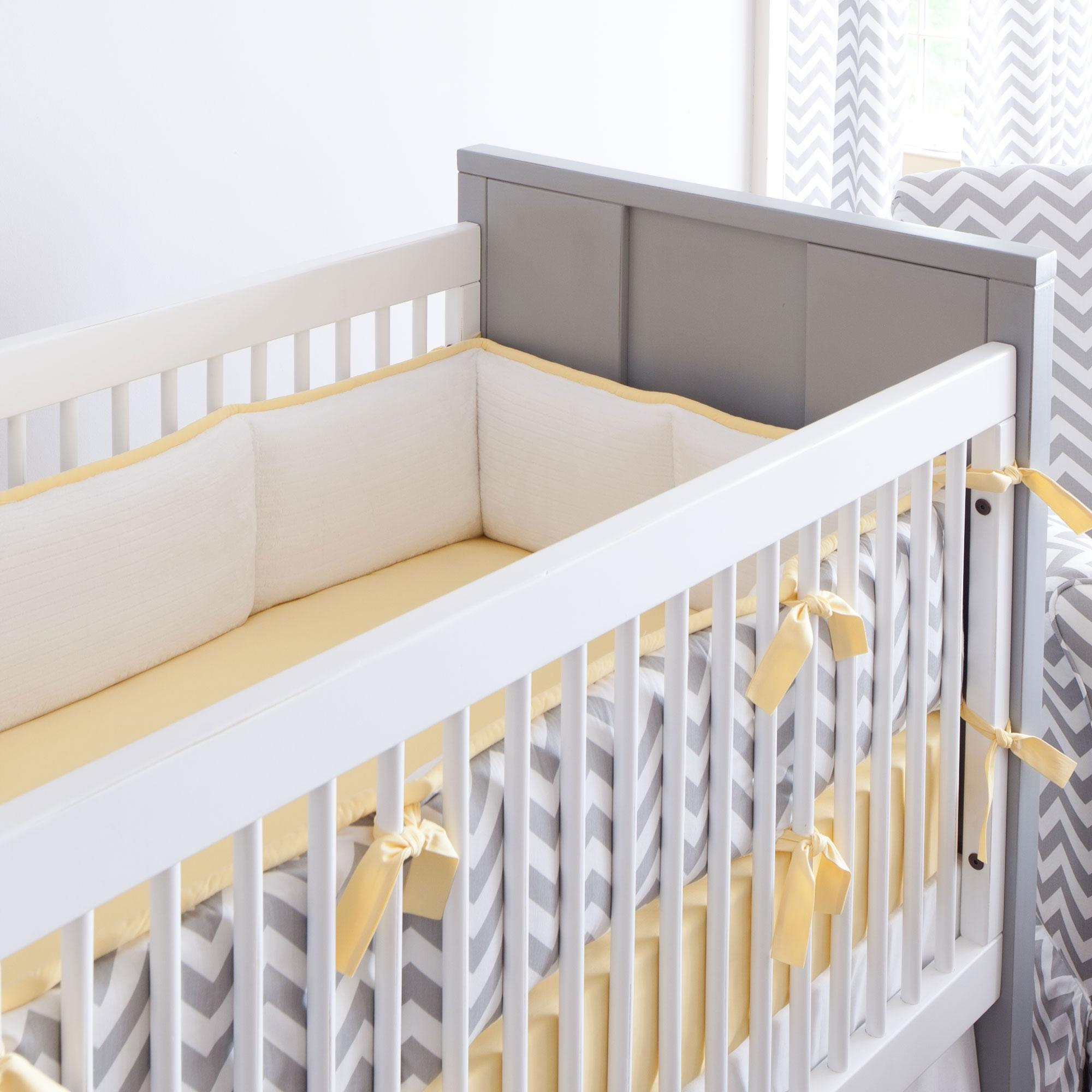 Gray and Yellow Zig Zag Crib Bumper