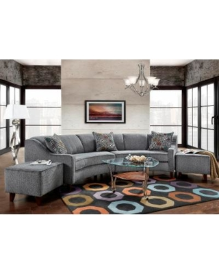 Sofa Trendz Bindel Grey Curved Sectional Sofa with Ottoman Set (Bindel Curved  Sofa with Ottoman