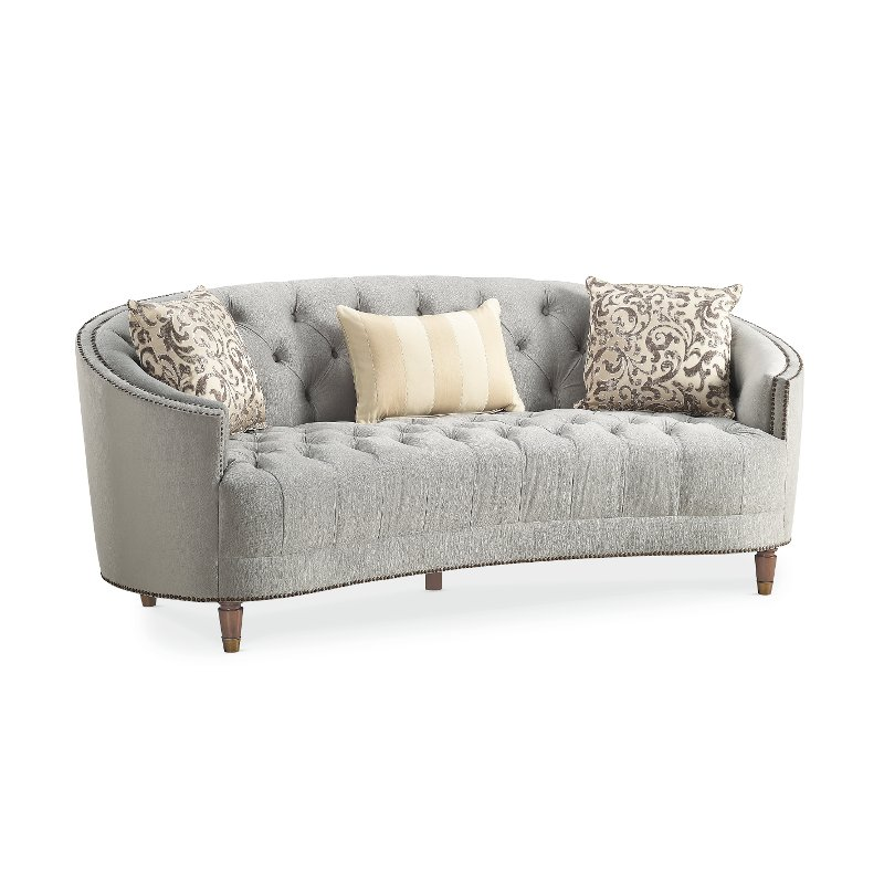Traditional Gray Curved Sofa - Classic Elegance | RC Willey Furniture Store