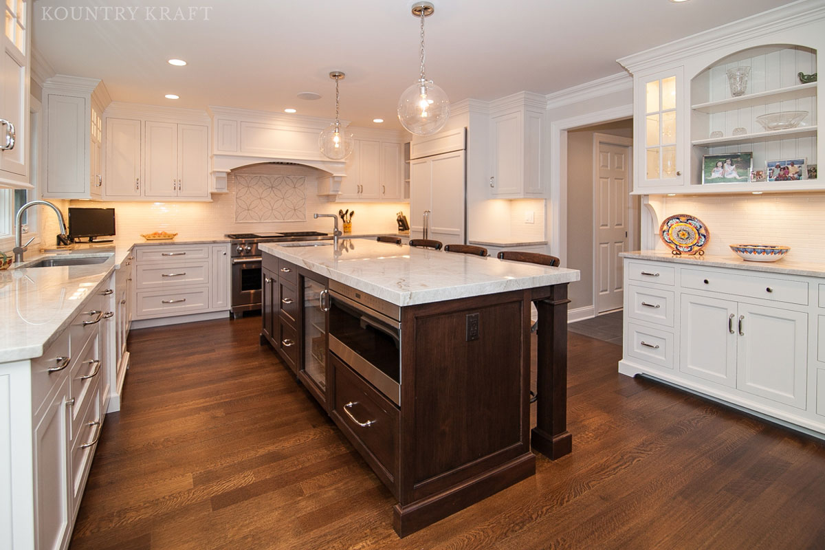 Kitchen cabinet and island with English Walnut stain Madison, NJ
