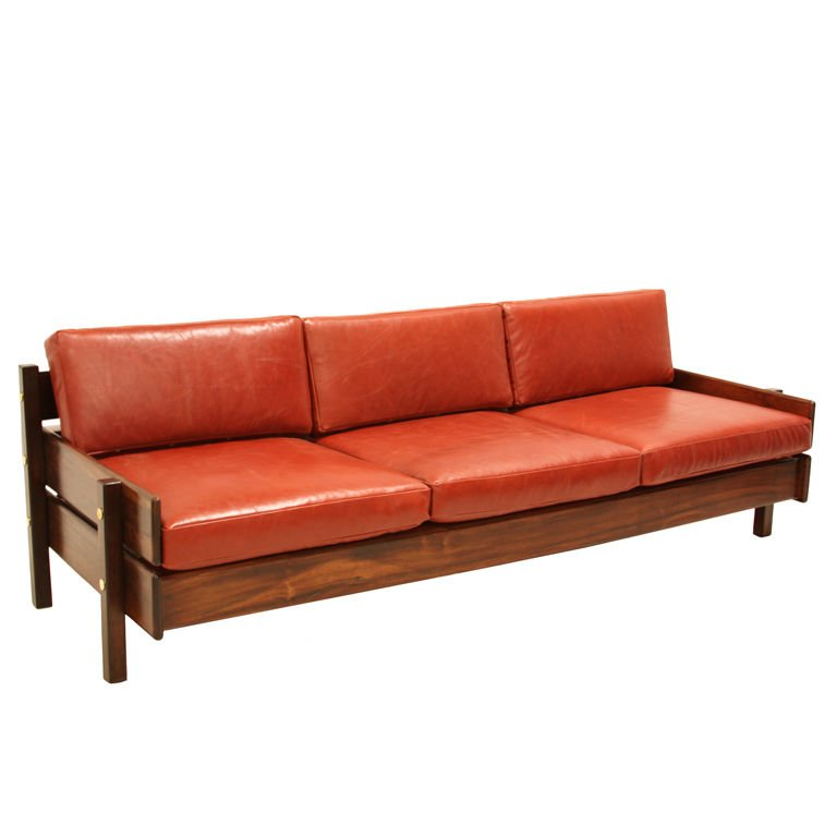 Custom Sofa with Floating Bookshelf by Sergio Rodrigues For Sale