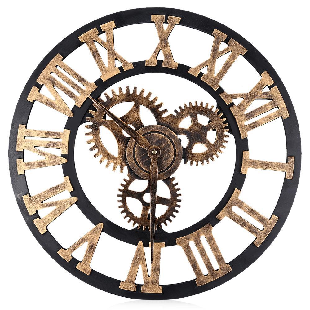 Digital Wall Clocks Design 3D Large Decorative Wall Clock Big Art Gear  Roman Numerals Circular Living Room Clock 17.7 Inch Kids Wall Clock Kids Wall  Clocks