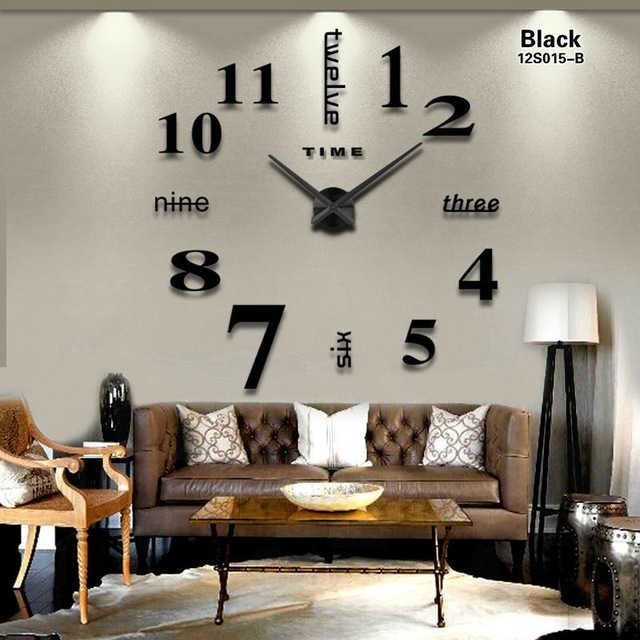 Acrylic Stickers Quartz Home Decoration big wall clock modern design 3D DIY  large decorative wall clocks watch wall unique gift-in Wall Clocks from  Home