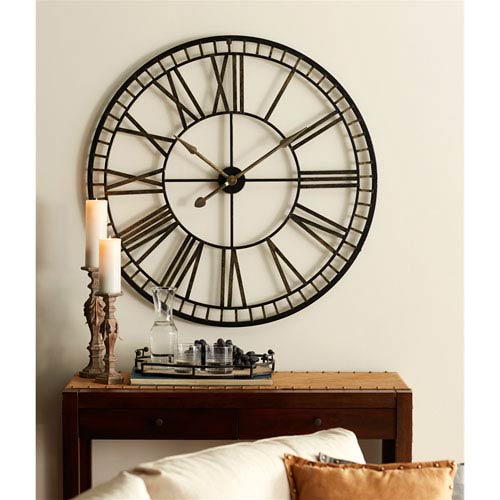 Oversized Black and Gold Metal Wall Clock
