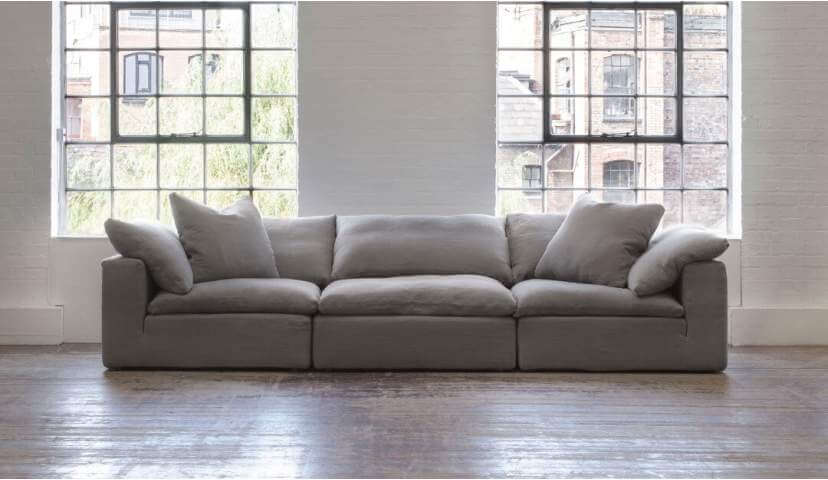 Feather Extra Deep 5 Seater Sofa in Grey Linen