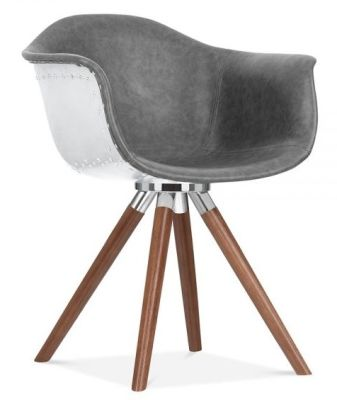 Juno B Designer Chair In Grey Leather With Walnut Legs Front Angle View