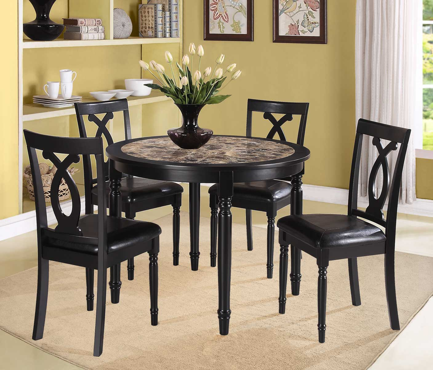 Homelegance Piper 5PC Round Dinette Set - Faux Marble 2566 |  Traveller Location