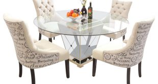 5-Piece Round Glass Dinette Set, Mirror Base With Antique Bronze Finish