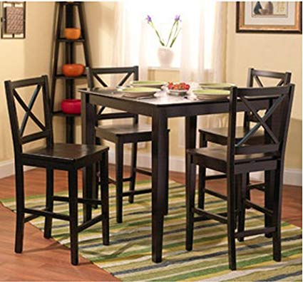 5-piece Counter Height Dining Room Set Dinette Sets Kitchen Black for 4  Persons.