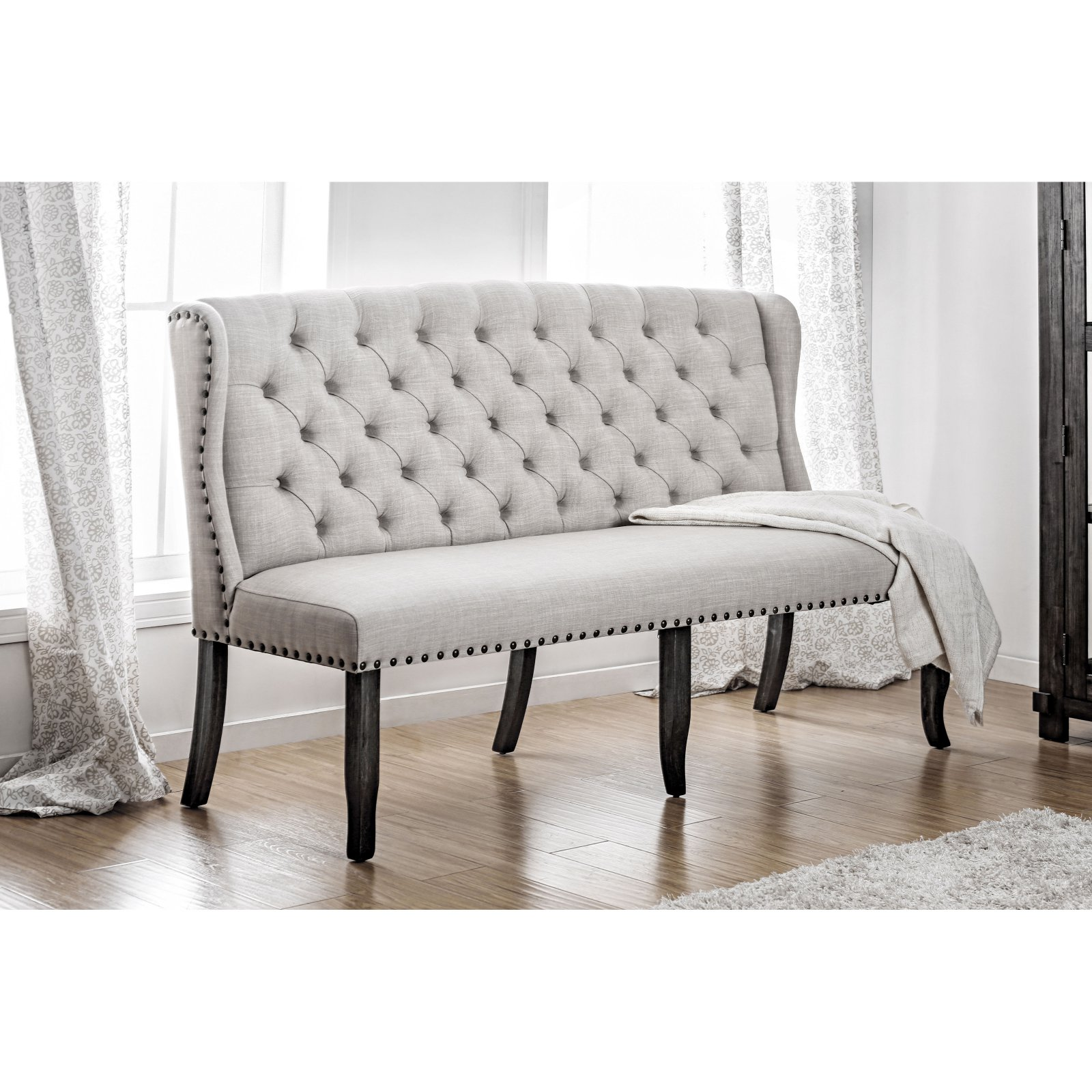 Furniture of America Oper Rustic 3-Seater Tufted Linen-like Fabric Loveseat  Dining Bench - Traveller Location