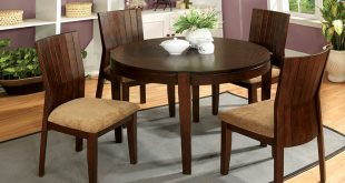Furniture of America La Vallee 5-Piece Round Walnut Dining Set