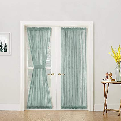 French Door Panel Curtains Privacy Sheer Door Curtain Panels 72 inch Length  Linen Look Textured French