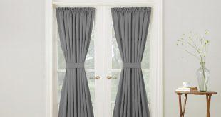 Sun Zero Semi-Opaque Gregory Grey Room Darkening Door Panel Curtain