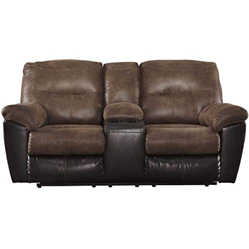 Ashley Furniture Signature Design - Follett Overstuffed Upholstered Double  Reclining Loveseat w/Console - Contemporary