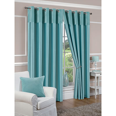 derwent faux silk fully lined duck egg blue eyelet curtains