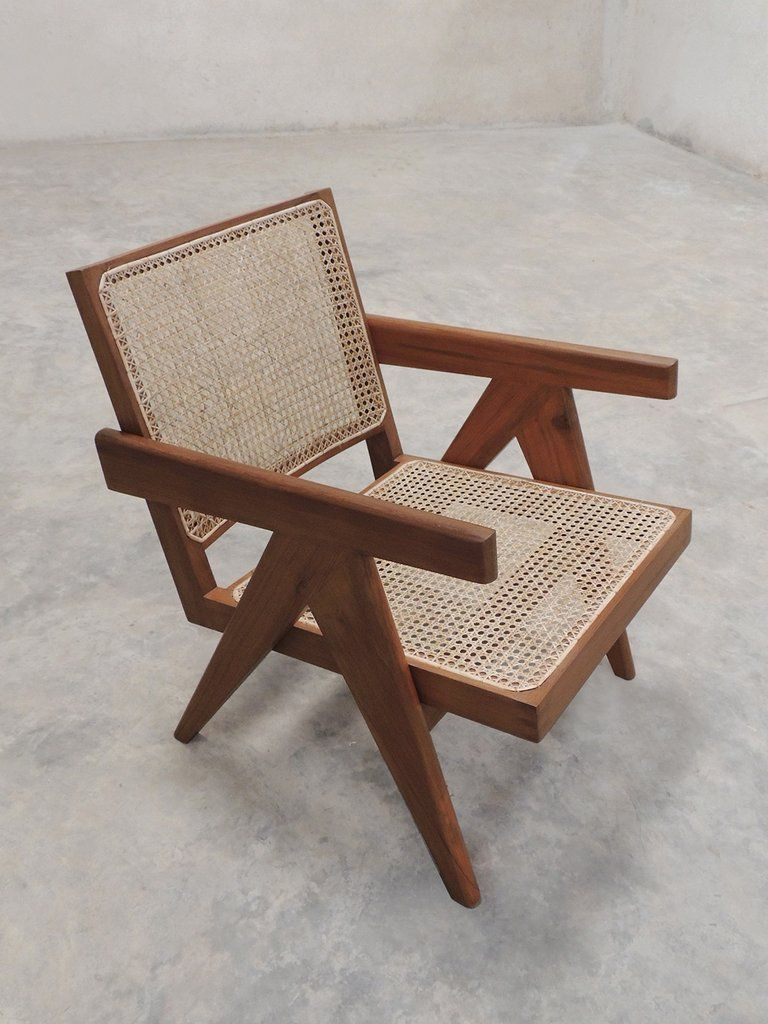 A re-edition of Pierre Jeanneret Easy Armchair, mid century, made for  offices and homes in Chandigarh and Ahmedabad, India. Handcrafted and hand  polished,