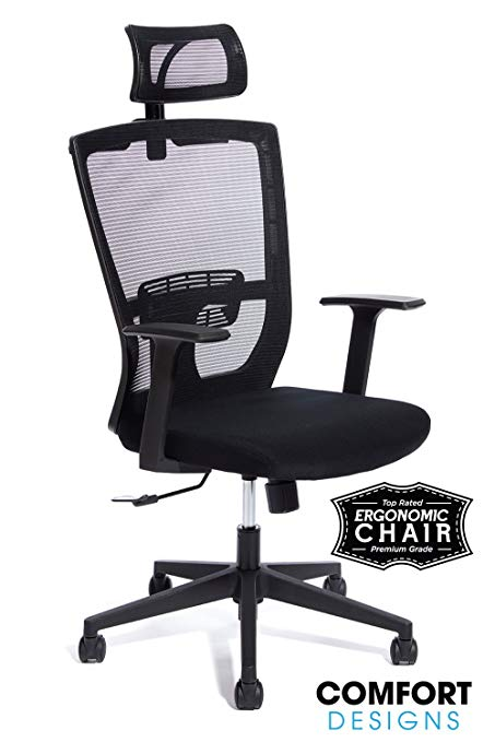 Premium High Back Mesh Office Chair by Comfort Designs | Ergonomic Desk  Chair, Lumbar Back