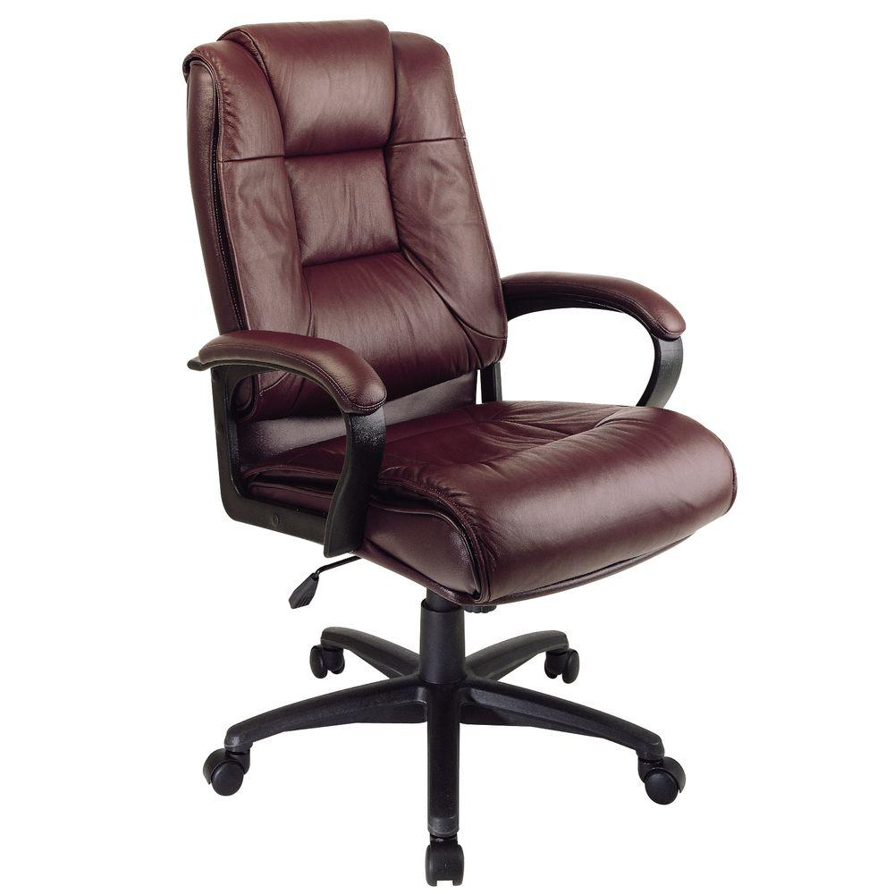 Work Smart Burgundy Leather High Back Executive Office Chair-EX5162-4 - The  Home Depot