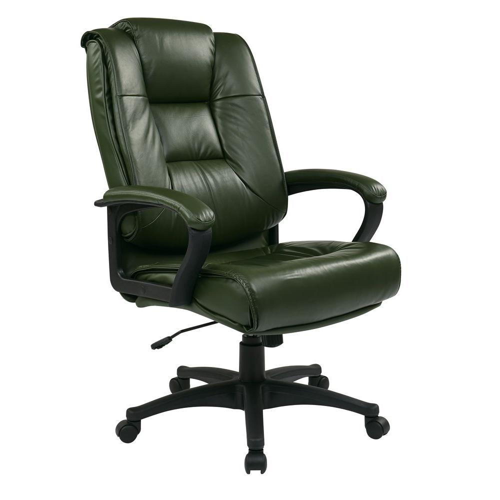 Work Smart Green Leather Executive Office Chair