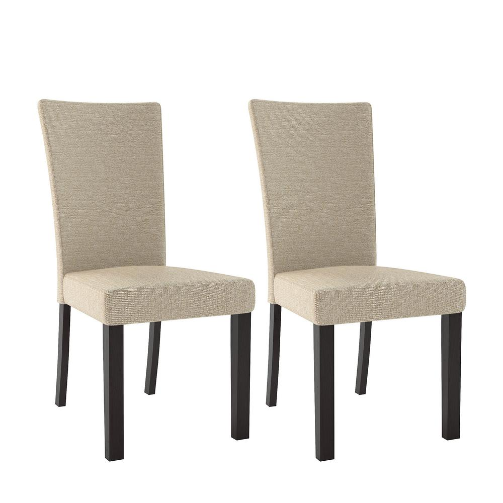 CorLiving Bistro Woven Cream Fabric Dining Chairs (Set of 2)