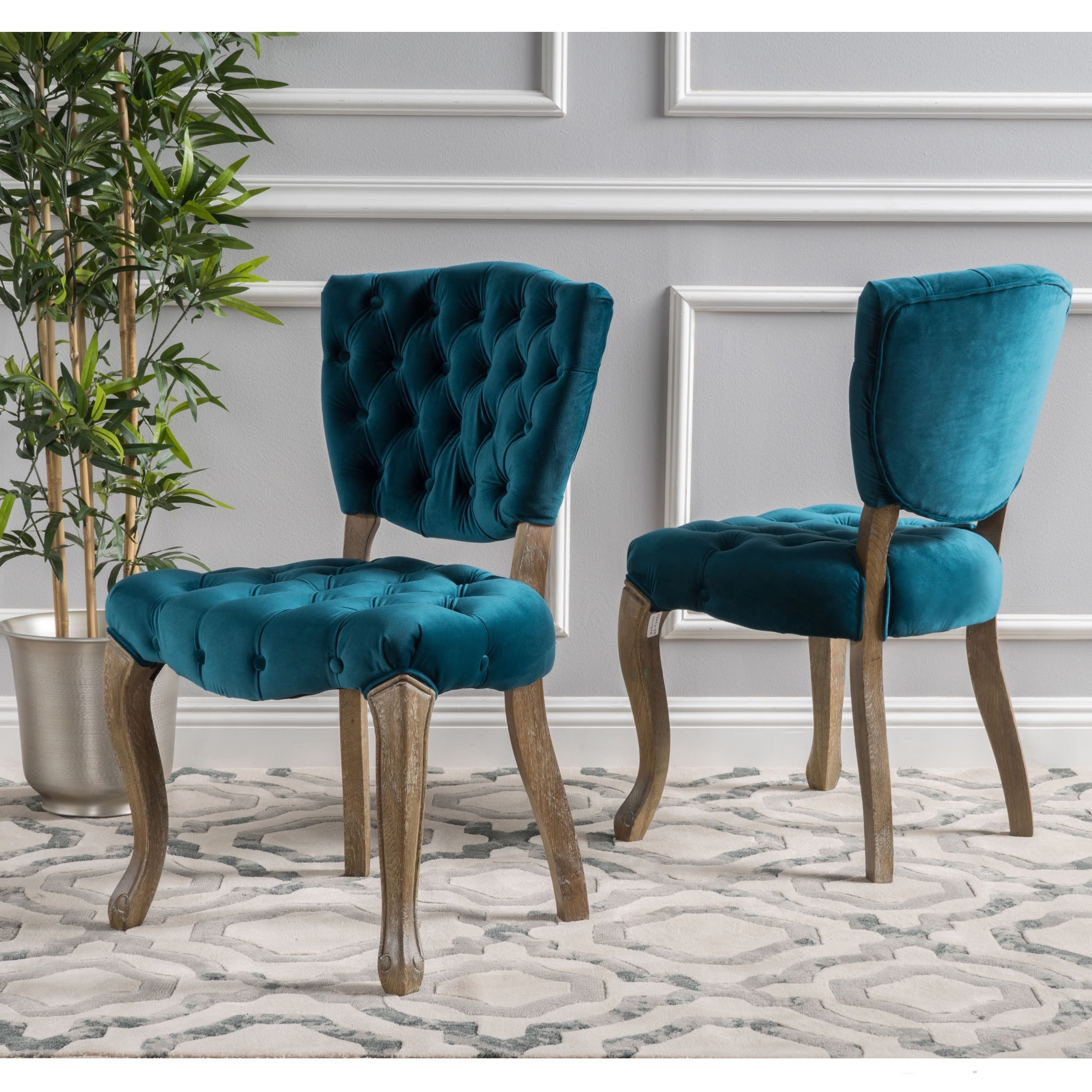 Shop Bates Tufted Grey Fabric Dining Chairs (Set of 2) - Free Shipping  Today - Overstock - 20603052