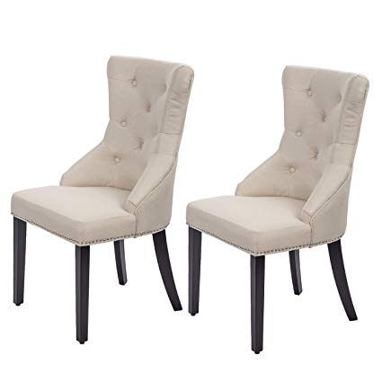 Traveller Location - Dining Chairs Fabric Dining Chairs Dining Room Chair with  Solid Wood Legs Set of 2 - Chairs