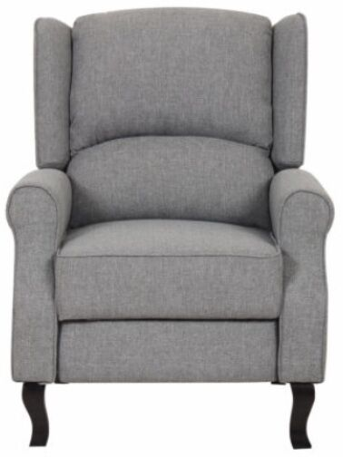 Details about Gray Modern Wingback Linen Fabric Recliner Chair Grey Accent  Chairs Recliners