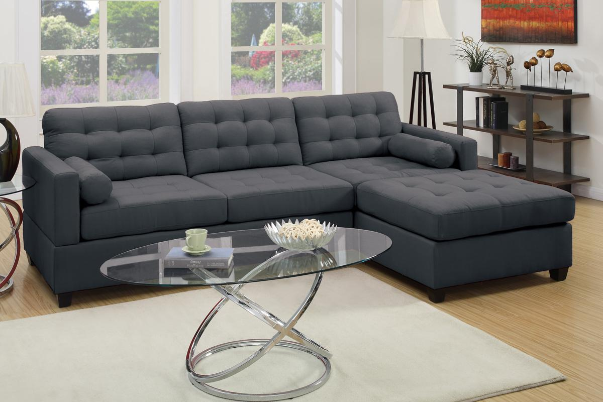 Grey Fabric Sectional Sofa - Steal-A-Sofa Furniture Outlet Los Angeles CA