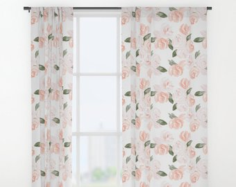 Nursery Curtain, Floral Curtain, Watercolor Floral, Curtain Panel, Curtains  for Nursery, Pink, Blush, Window Treatment, Drapes, Girl Nursery