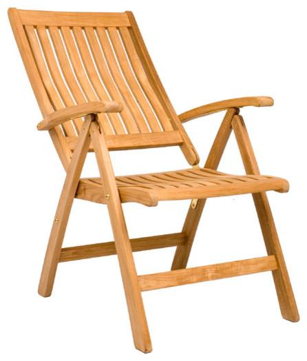 Marley Reclining Folding Chair - Outdoor Teak - Contemporary