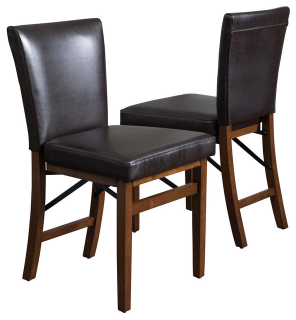 Rosalynn Brown Leather Folding Dining Chairs, Set of 2
