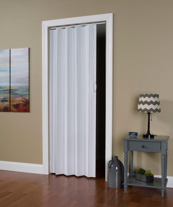 Solid Vinyl Accordion Folding Door with Flexible Hinges - Via