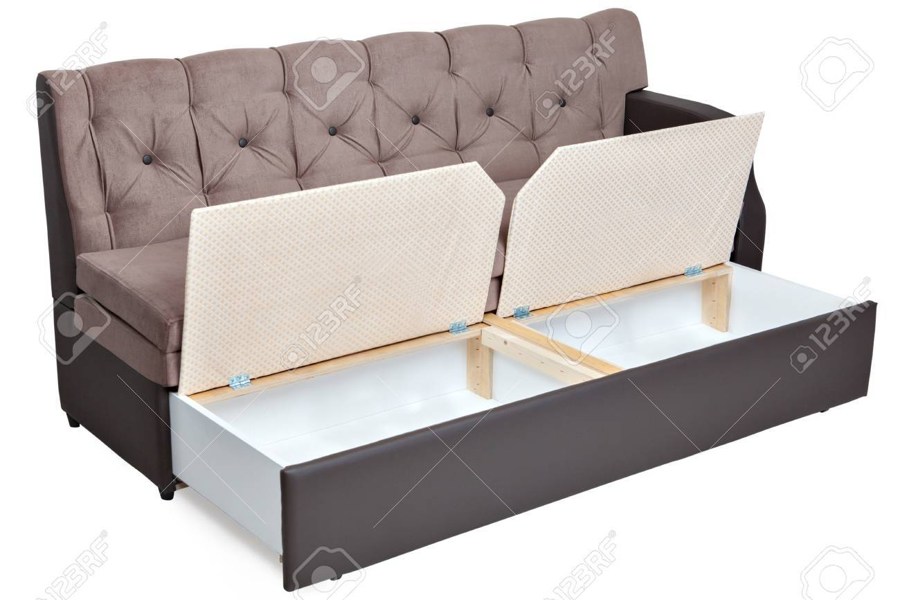 Folding sofa bed couch with storage space, isolated on white background,  saved path selection