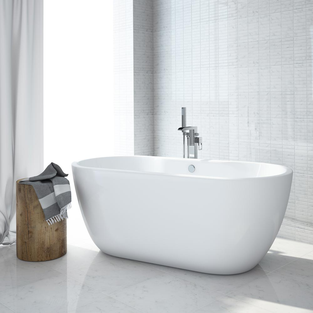 Luxury Modern Double Ended Curved Freestanding Bath at Victorian Plumbing UK