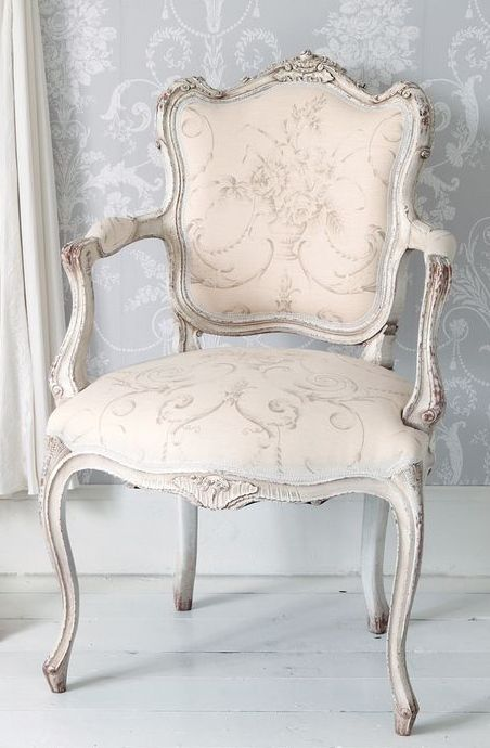 Delicate Pink #French chair with grey wash finish. Perfect for a