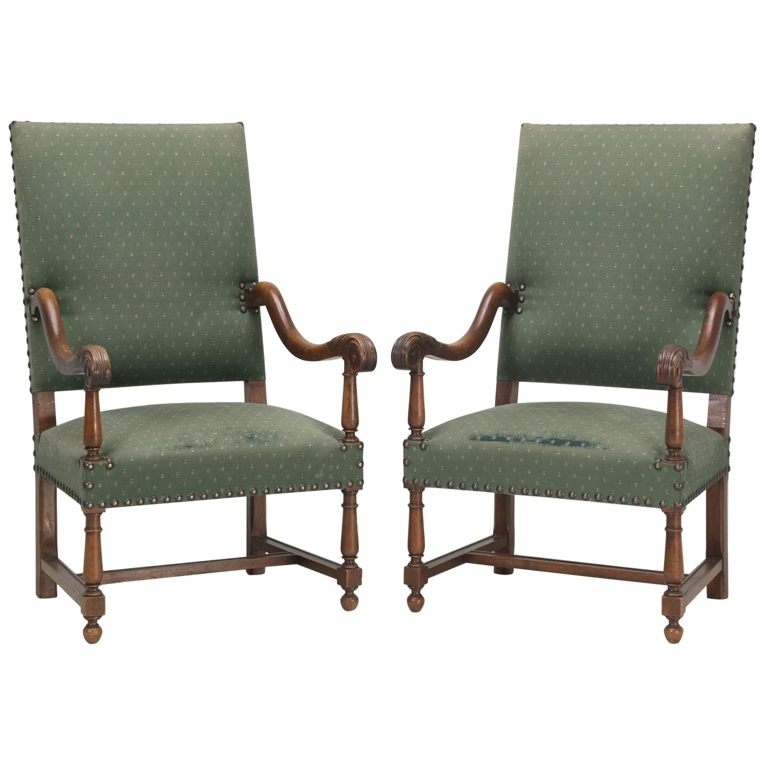 Antique Pair of French Armchairs For Sale