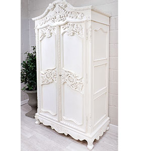 French Chateau White Heavy Carved Armoire Wardrobe