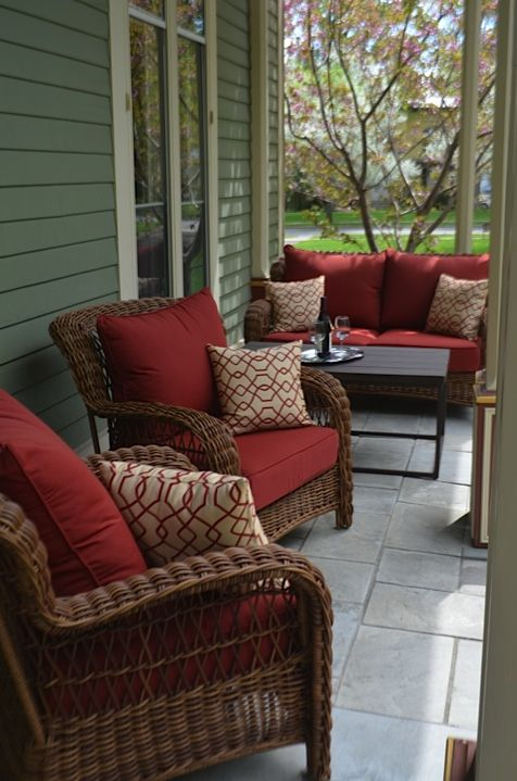 Come enjoy our new porch furniture and relax to the sound of a bubbling  garden fountain! #landmarkinn #Cooperstown #bedandbreakfast