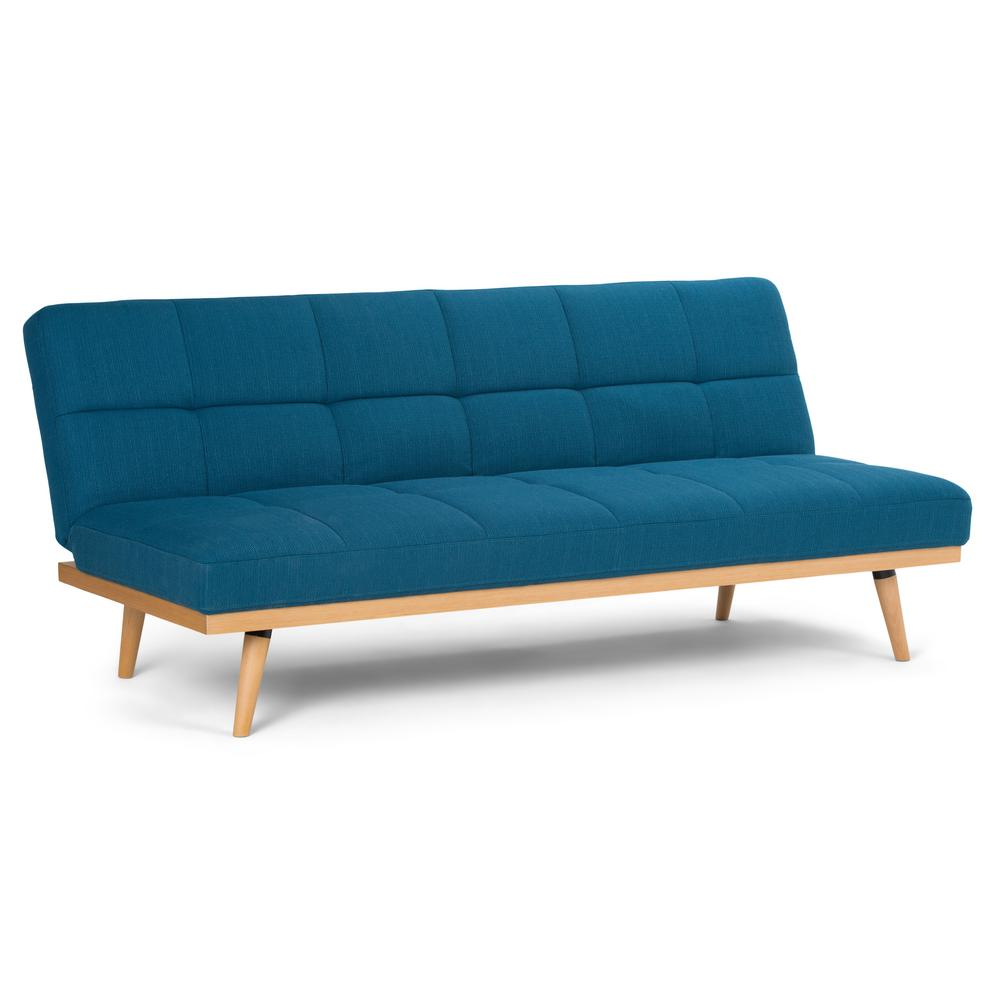 Spencer Contemporary 71 in. x 32 in. x 30 in. Sofa Bed in Mediterranean  Blue Linen Look Fabric